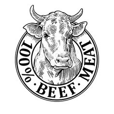 Cows head. 100 percent beef meat lettering. Hand drawn in a graphic style. Vintage black vector engraving illustration for label, poster, symboltype. Isolated on white background