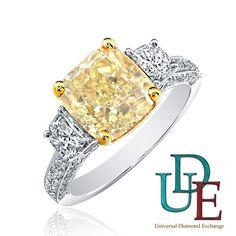18k Gold 1.27 carat Radiant Cut Three-Stone Engagement Ring Fancy Yellow Diamond