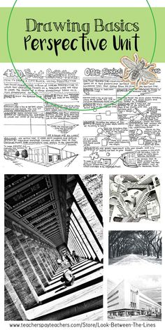 This drawing unit focuses on teaching one point perspective and two point perspective techniques. It includes a lesson plan for two lessons, PowerPoint, a one point perspective printable worksheet, and a two point perspective printable worksheet. Perspective Drawing Lessons, One Point Perspective, Perspective Art, Art Club Projects, High School Art Projects, Art School, Visual Art Lessons, Visual Arts, High School Drawing