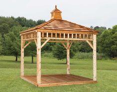 This raw wood log cabin style gazebo has an open design that's perfect for setting a picnic table under. Diy Pergola, Backyard Gazebo, Pergola Garden, Pergola Kits, Porch Garden, Pergola Roof, Metal Pergola, Pergola Shade, Octagon Picnic Table