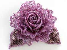 キラキラパープルの薔薇ビーズコサージュ