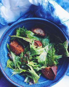 @rochellebilow is eating her greens with a mizuna and red giant mustard greens salad. Also up in the mix: sesame-cider vinaigrette Aleppo pepper and rye croutons. by bonappetitmag