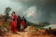 Refugees Painting - refugees leaving their town-Trapezounta by Demetrios Vlachos Santa, Painting, Festivals, Painting Art, Paintings, Concerts, Painted Canvas, Festival Party, Drawings