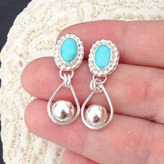 Turquoise Dangle Earrings Artisan Metalsmith Rain by MosaicSmith