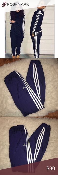 ⚡️ Adidas Navy Joggers Track Pants ⚡️Adidas navy joggers superstar track Pants  - Solid blue - navy with 3 white stripes logo on thigh - Size small, stretchy waistband with draw string, semi loose fit, joggers, Tight at ankles, Velcro strap to adjust tightness  - Athletic, vintage style, slouchy, loose comfortable fit, windbreaker material  - Perfect new condition - Purchased from PACSUN - NWOT adidas Pants Track Pants & Joggers