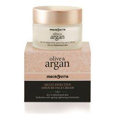 OLIVE & ARGAN MULTI-EFFECTIVE 24HOURS CREAM: Zapewnia długotrwałe i głębokie nawilżenie, wygładza zmarszczki, usuwa przebarwienia i oznaki zmęczenia, napina i wygładza skórę, nadając jej aksamitną strukturę, jednolity koloryt i blask, który trwa.