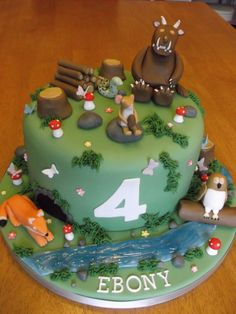 Gruffalo Party, 4th Birthday Cakes, Birthday Ideas, Fox Cake, School Cake, Tree Cakes, Cake Tutorial, Cake Designs, Amazing Cakes