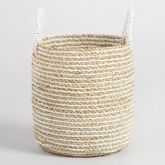 Charming form meets handy function in our small Bianca basket, handwoven in Indonesia of seagrass in a chic white and natural striped design. Basket Weaving, Hand Weaving, Cool Room Decor, Dear Lillie, Linen Closet Organization, Basket Organization, Basket Decoration, Affordable Home Decor, World Market