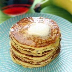 Four-Ingredient Protein Pancakes Recipe Breakfast and Brunch with bananas, eggs, baking powder, vanilla whey protein powder