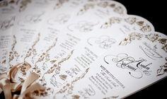 """Katsumi & Asuka Wedding Menu 私達の結婚式で使ったオリジナルメニュー表です。 WITH THE STYLE FUKUOKAで式を挙げました。私達のテーマは""""幸せの青い鳥""""。 テーマに合わせてお伽話のような世界観をもったファンタジーなデザインにしました。 扇型の形をしており、ご挨拶、メニュー表、プロフィールが書かれています。 ご好評頂き、WITH THE STYLEさんのウェディングレポートに掲載されました。 お二人の名前のオリジナルロゴ、テーマに沿ったロゴ、日付や場所までオリジナルテイストのロゴで仕上げます。 写真は表紙、ご挨拶、メニュー表、プロフィール(新郎、新婦)の5枚綴りです。 全てにこだわりのデザインが詰め込んであります。紙は全て0.6mmの丈夫なコットン紙に手触りが楽しめる活版印刷を施しています。"""