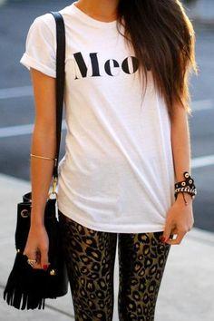 Feline fashion. Meow tee and leopard leggings. Perfect teen style.