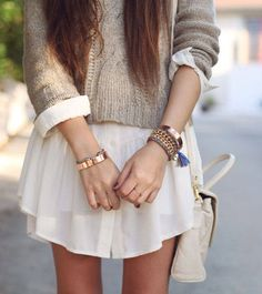 Love this sandstone sweater over long white shirt!