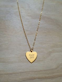 Jewels: off heart chain jewellery necklace gold cute jewelry fuck you necklace necklace, gold,