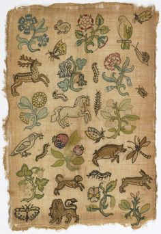 """Random Spot"" sampler of isolated floral and animal motifs on linen, British, 17th C."
