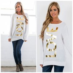 Gold Foil LOVE Long Sleeve Top Made in the USA. Super soft!  #1250A Tops Sweatshirts & Hoodies