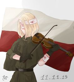Poland playing the violin. It was my headcanon that countries can play different instruments