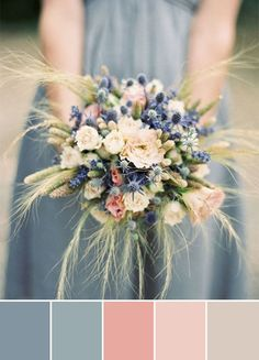 dusty blue and peach wedding color schemes bouquet ideas autumn wedding colors / wedding in fall / fall wedding color ideas / fall wedding party / april wedding ideas Dried Flower Bouquet, Blue Bouquet, Flower Bouquet Wedding, Bridesmaid Bouquet, Spring Flower Bouquet, Spring Flowers, Gold Color Scheme, Blue Color Schemes, Wedding Color Schemes
