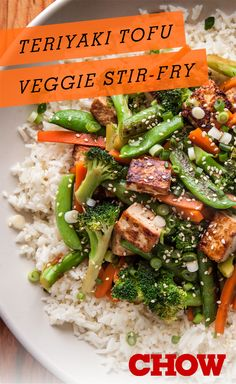 Teriyaki Tofu and Veggie Stir-Fry A healthy teriyaki tofu and veggie stir-fry recipe. - Teriyaki Tofu and Veggie Stir-Fry Recipe Stir Fry Recipes, Tofu Recipes, Asian Recipes, Vegetarian Recipes, Cooking Recipes, Healthy Recipes, Sandwich Recipes, Healthy Foods, Recipies