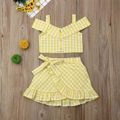 Yellow Plaid Off Shoulder Button Crop Top W/ Matching Ruffle Skirt Baby Girl Skirts, Baby Skirt, Dresses Kids Girl, Kids Outfits, Ruffle Skirt, Batman Outfits, Rock Outfits, Emo Outfits, Baby Girl Clothes Summer