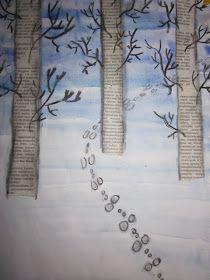 Arctic Art: The rabbit leaps across the field Preschool Art Projects, High School Art Projects, Winter Art Projects, Snow Theme, Winter Activities For Kids, Ice Art, Newspaper Crafts, Kindergarten Art, Family Crafts