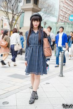 When we met Sara on the street in Harajuku, she was wearing a gingham dress from GU (Uniqlo) with bow shoes, a straw hat, and an axes femme(アクシーズ ファム) tote bag. Korean Fashion Work, Japanese Street Fashion, Tokyo Fashion, Harajuku Fashion, Japanese Streets, Modest Fashion, Girl Fashion, Fashion Design, Tokyo Street Style
