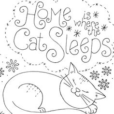... Home is where the cat sleeps embroidery pattern - Etsy
