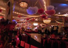 Pom Poms scattered all over the Marquis ceiling looked fantastic at this Bat Mitzvah.