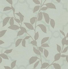 Koyo (W514/07) - Villa Nova Wallpapers - A leaf silhouette trail overlaid on a trellis effect. Shown here in lustre silver grey on eucalyptus blue green.  Please ask for sample for true colour match.