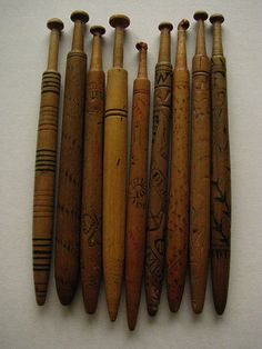 Weaving tools: Wonderful Honiton bobbins (for making lace) These make pretty good tapestry bobbins in a pinch too.