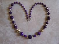 purple and gold beaded necklace long free ship