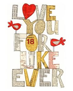 Love you For Like Ever - Mixed Media