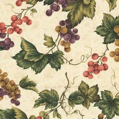 fabric - Vineyard Multi Grapes on Ecru by VIP/Cranston Village Fabric with multi-colored grapes and leaves, on a speckly ecru background. By VIP / Cranston Village. Grape Vineyard, Kitchen Fabric, Wine Tote, Window Ideas, Fabric Swatches, Vip, Remodeling, Decoupage, Fabrics