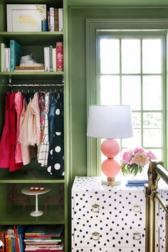 DIY Spotted Ikea Rast Dresser // Green Built Ins // Mini Closet