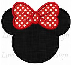 No diseño de Minnie Mouse cabeza apliques por LovelyStitchesDesign