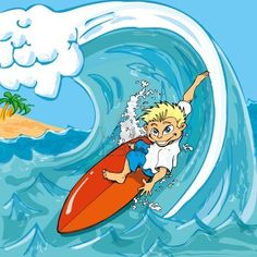 Cartoon boy surfing a wave in the sea Stock Photo - 9290107