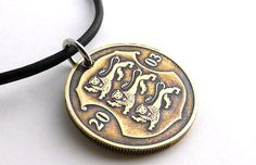 Estonian Coin necklace Lion necklace Men's necklace by CoinStories