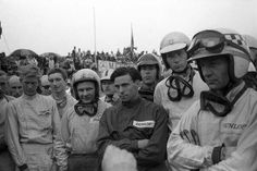 Spa drivers' meeting before the 1963 Belgian Grand Prix Le Mans, Jochen Rindt, Bruce Mclaren, Dan Gurney, Belgian Grand Prix, Sport One, Full Face Helmets, F1 Season, F1 Racing