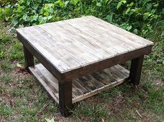 Farmhouse Reclaimed Wood Coffee Table With Shelf - Square Coffee Table…