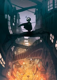 illustration by Demizu Posuka - perspective city sketchy painting