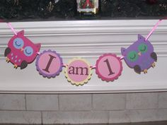 Girl Owl high chair banner I am 1  Hayley by CreativePartyBanners, $12.00