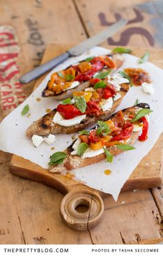 Bruschetta with Roasted Marinated Peppers | Recipes | The Pretty Blog