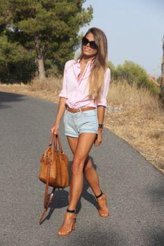 Shorts, button down, heels