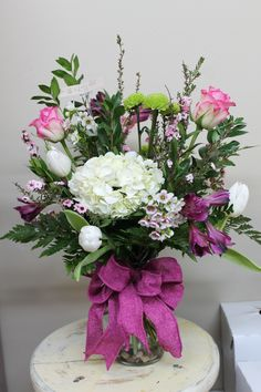Mixed Fresh Cut Arrangement with white Hydrangeas, pink Roses, and white Tulips