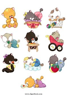 LE - cute Baby Kittiesfree vector clipart designs for digitizers textile and fashion designers