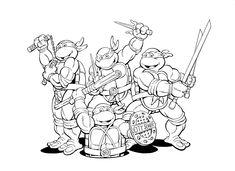 Download and Print kids ninja turtles free superhero coloring pages