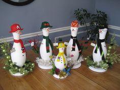 bowling pin snowmen...family members...by Terrye Muratore