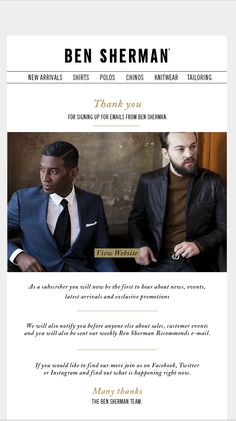 ben sherman welcome email