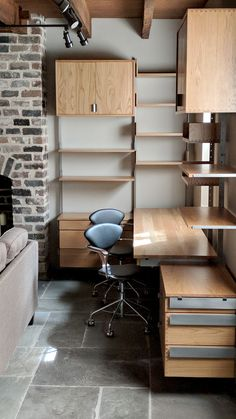 wall mounted, modular furniture corner configuration in solid white oak & cold-rolled steel by Atlas Industries Diy Furniture Decor, Handmade Furniture, Furniture Projects, Furniture Design, Corner Furniture, System Furniture, Modular Furniture, Contemporary Furniture, Wall Shelving Systems