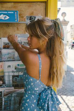 long hair and blue dress