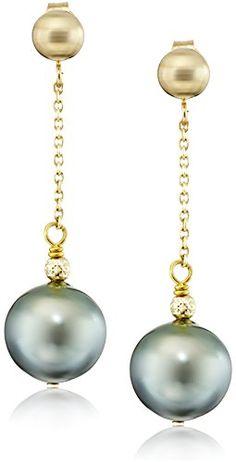 f2ac1a89d 14k Yellow Gold Black Tahitian Cultured Pearl Dangle Earrings (9-9.5mm) -